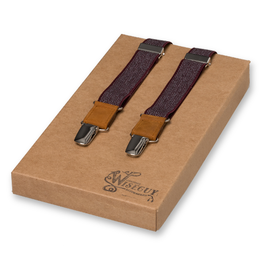 Wiseguy Suspenders - The Herringbone - Weinrot (1)